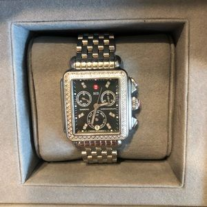 Michele deco watch with black face